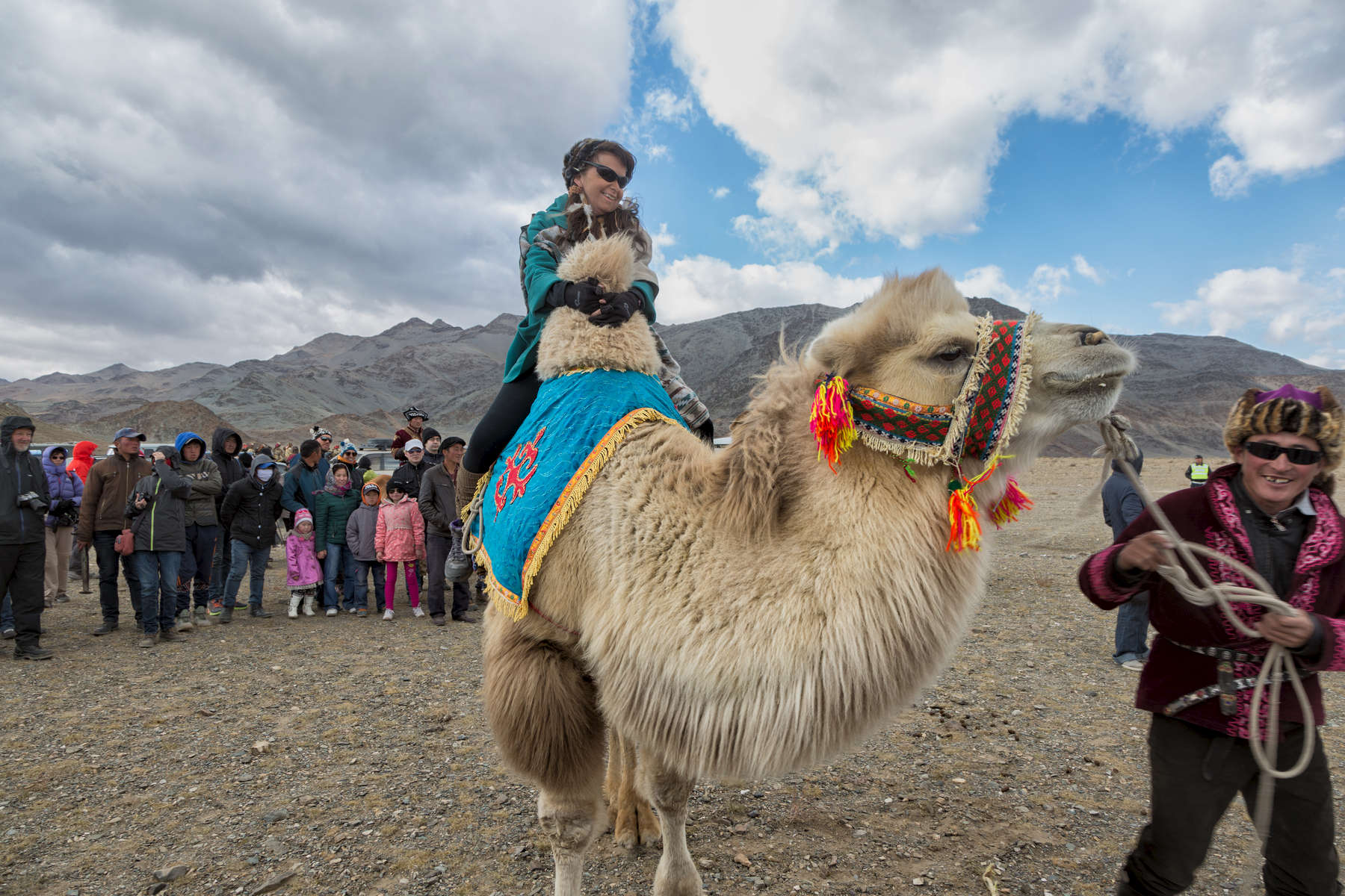 Enjoying a surprisingly comfortable camel ride at the Eagle Festival. (Photo taken by instructor Jonathan Stewart)