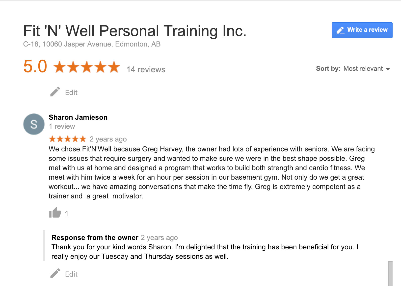 Client review by Sharon Jamieson for Fit 'N' Well Personal Trainer