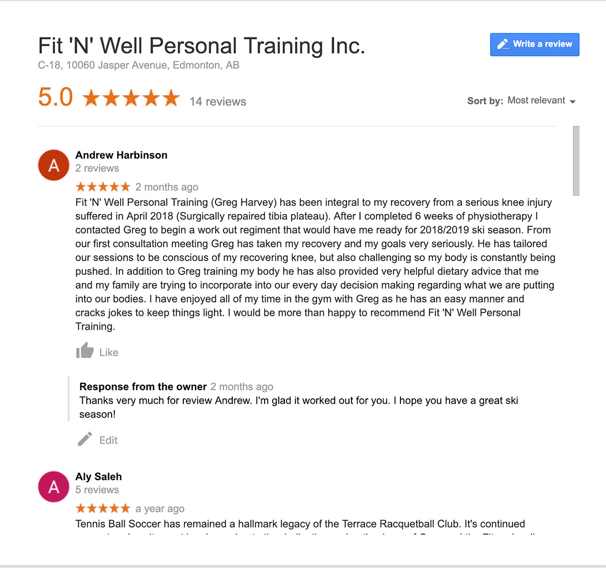 personal trainer client review by Andrew Harbinson for Fit 'N' Well