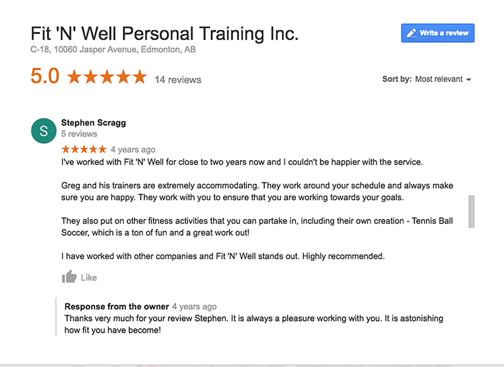 Client testimonial for Fit 'N' Well Personal Trainer