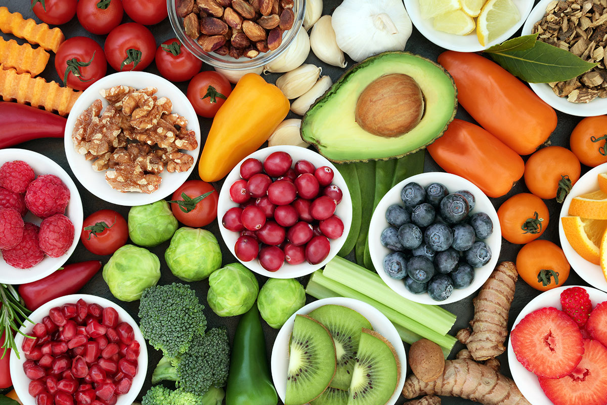 Picture of healthy foods, fruits and vegetables.
