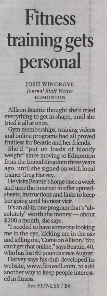 Edmonton Journal, personal trainers
