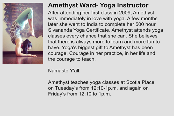 Amethyst is a yoga instructor at Fit \'N\' Well Personal Training Inc.